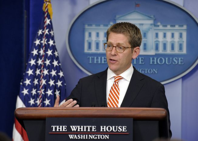 White House spokesman Jay Carney speaks during the daily briefing at the White House in Washington on April 15, 2013. (Associated Press)
