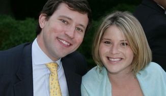 Jenna Bush Hager and Henry Hager, pictured in 2006, welcomed their first child, a daughter, on Saturday, April 13, 2013, in New York. The baby is the first grandchild for former President George W. Bush and his wife, Laura.  (AP Photo/The White House, Kimberlee Hewitt)
