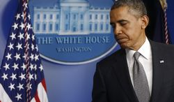 President Obama turns to leave after speaking in the Brady Press Briefing Room of the White House in Washington on April 16, 2013, following the explosions at the Boston Marathon. (Associated Press)
