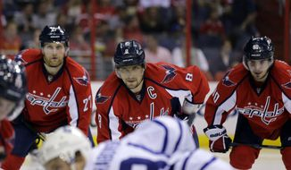 Washington Capitals left wing Alex Ovechkin (8), from Russia, center, with defenseman Karl Alzner (27) and center Marcus Johansson (90), from Sweden, wait for the face off in the second period of an NHL hockey game against the Toronto Maple Leafs Tuesday, April 16, 2013 in Washington. (AP Photo/Alex Brandon)