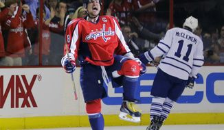 Washington Capitals left wing Alex Ovechkin celebrates a goal. He may also being celebrating the fact he's one of the 1.3% of the lucky global population to become a pro hockey player.