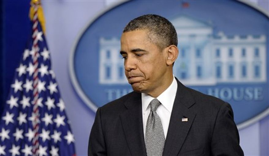 President Obama finishes speaking in the Brady Press Briefing Room of the White House in Washington, Tuesday, April 16, 2013, about the Boston Marathon explosions.(AP Photo/Susan Walsh)
