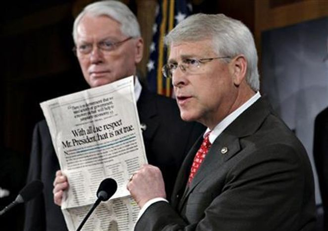 Sen. Roger Wicker, R-Miss., (right) speaks during a news conference at the Capitol in Washington, January 2009. (Associated Press) ** FILE **