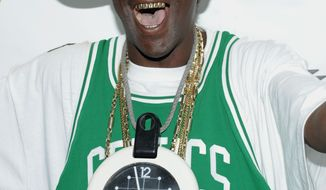 Rap artist Flavor Flav arrives at the 2008 VH1 Hip Hop Honors at Hammerstein Ballroom in New York on Oct. 2, 2008. (Evan Agostini/AP Images for VH1) **FILE**