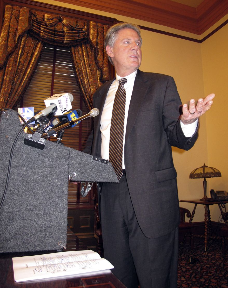 **FILE** U.S. Rep. Frank Pallone Jr., New Jersey Democrat, speaks at a news conference on Jan. 23, 2012 in Trenton, N.J. about plans to legalize sports betting in New Jersey. (Associated Press)