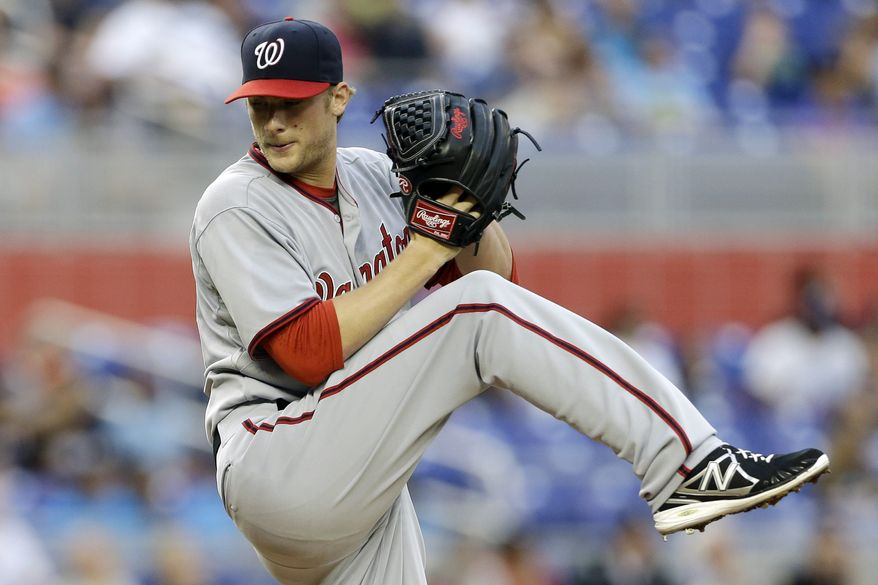 Nationals' left-hander Ross Detwiler turned in his third strong start of the season to lead the Nationals to a 6-1 victory over the Marlins, and his 0.90 ERA ranks as the sixth-best mark in the major leagues. (Associated Press photo)