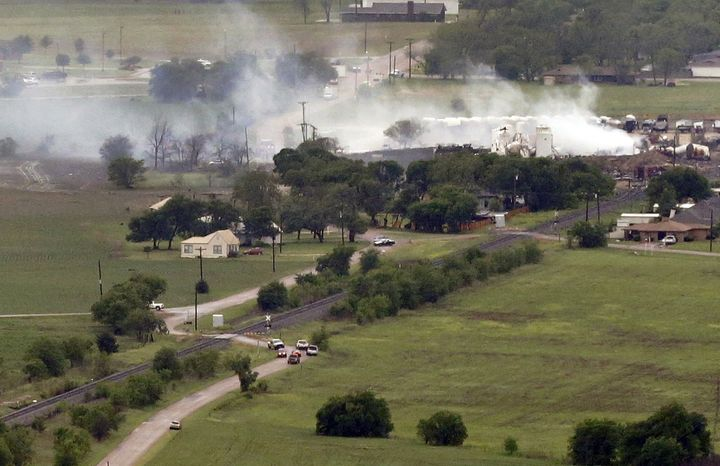 This aerial photo shows a view of homes on the North side of the fertilizer plant explosion site on April 18, 2013, in Near West, Texas. A massive explosion at the West Fertilizer Co. killed as many as 15 people and injured more than 160, officials said. (Associated Press)