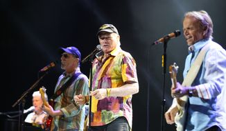 From left, the Beach Boys' Brian Wilson, David Marks, Mike Love and Al Jardine perform in concert in Sydney, Australia, on Aug. 30, 2012. (Associated Press) **FILE**
