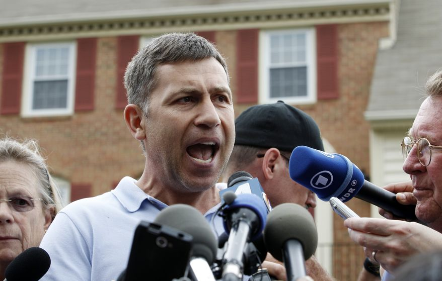 Ruslan Tsarni, the uncle of the Boston Marathon bombing suspects, speaks with the media outside his home in Montgomery Village, Md., on April, 19, 2013. (Associated Press)