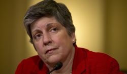 ** FILE ** Homeland Security Secretary Janet Napolitano testifies on Capitol Hill in Washington, Thursday, April 18, 2013, before the House Homeland Security Committee. (AP Photo/Evan Vucci)