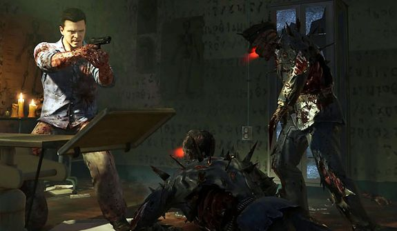 Actor Michael Madsen as Finn O'Leary fights off zombies in Mob of the Dead, a new zombie map in the first person shooter Call of Duty: Black Ops II - Uprising DLC pack.