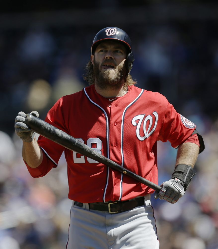 Washington Nationals Jayson Werth reacts after striking out in the first inning in Nationals 2-0 shutout loss to the New York Mets in a baseball game at Citi Field in New York, Sunday, April 21, 2013. (AP Photo/Kathy Willens)