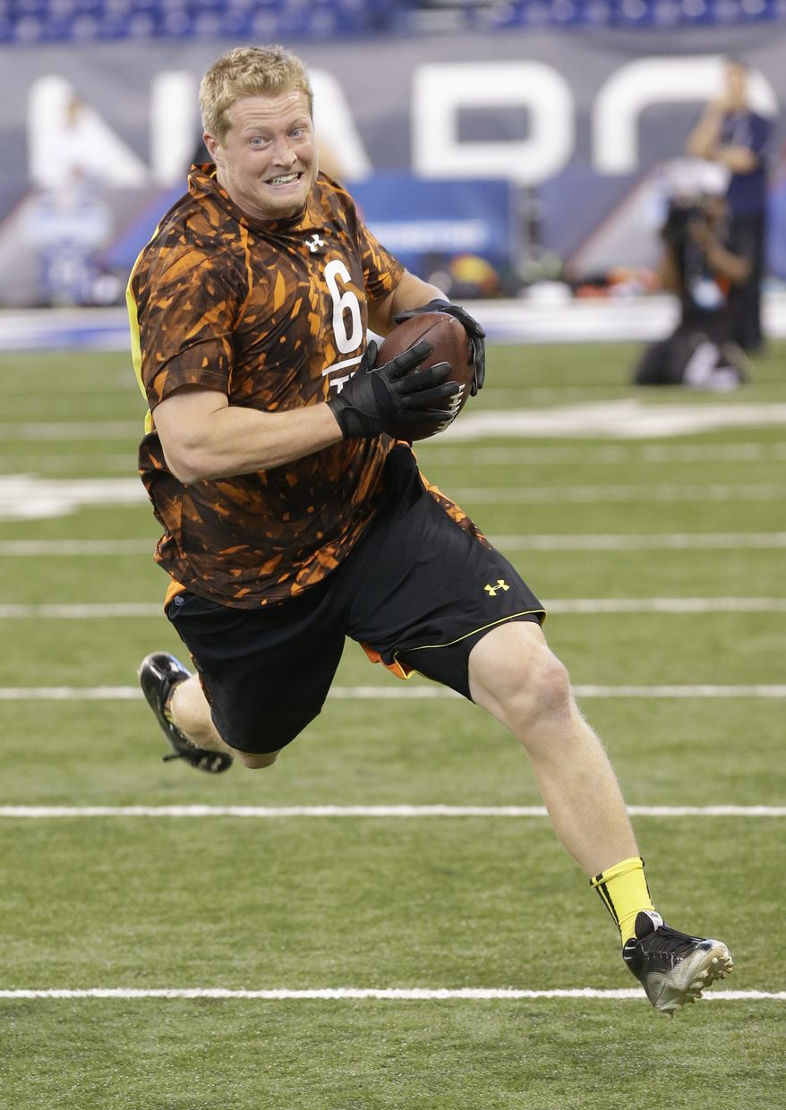 Maryland tight end Matt Furstenburg runs a drill during the NFL football scouting combine in Indianapolis, Saturday, Feb. 23, 2013. (AP Photo/Dave Martin)