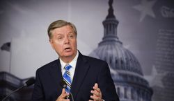Sen. Lindsey Graham, South Carolina Republican, tells reporters on April 22, 2013, during a news conference on Capitol Hill in Washington that he objects to President Obama's decision to not prosecute the Boston Marathon bombing suspect as an enemy combatant. (Associated Press)