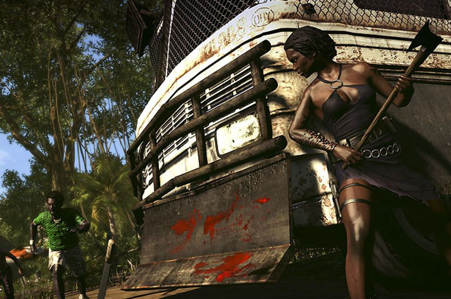 Infected natives get a surprise from Purna in the video game Dead Island: Riptide.