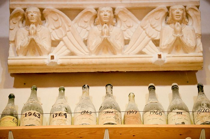 Champagne bottles dating back decades are on display inside the base of the central tower of the Washington National Cathedral during a tour on damage caused by the 5.8 magnitude earthquake in August of 2011, Washington, D.C., Monday, April 22, 2013. Former Head Stone Carver Vince Palumbo and his crew saved a bottle from each New Year celebration. (Andrew Harnik/The Washington Times)