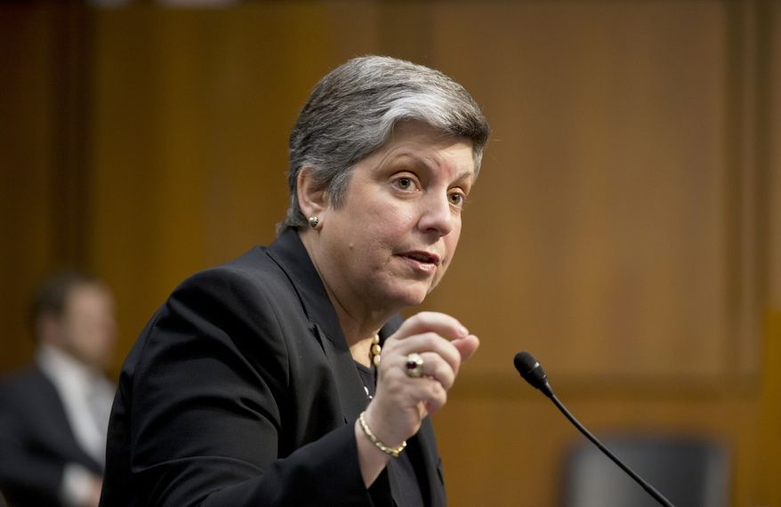 Homeland Security Secretary Janet Napolitano testifies on Capitol Hill in Washington on April 23, 2013, before the Senate Judiciary Committee hearing on immigration reform. (Associated Press)