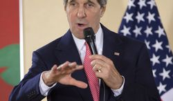 ** FILE ** U.S. Secretary of State John F. Kerry speaks during a meet-and-greet with European Commission fellows hosted by commission President Jose Manuel Barroso on Monday, April 22, 2013, in Brussels. (AP Photo/Evan Vucci, Pool)