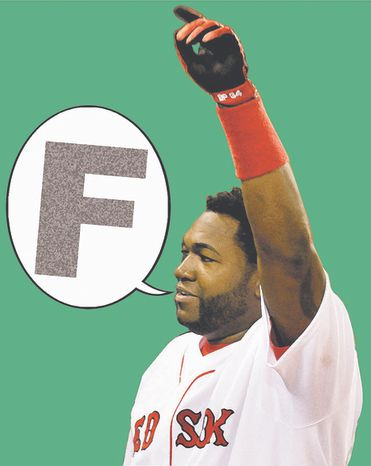 """Boston Red Sox designated hitter David Ortiz's public """"F-bomb"""" at Fenway Park after the terrorist attack at the Boston Marathon was indicative of the coarsening of American society. (Associated Press)"""