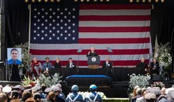 Vice President Joseph R. Biden speaks at Wednesday's memorial service for fallen MIT Officer Sean Collier, fatally shot  during the manhunt for the Boston Marathon bombers. With bagpipes wailing, the line of mourners stretched for a half-mile.