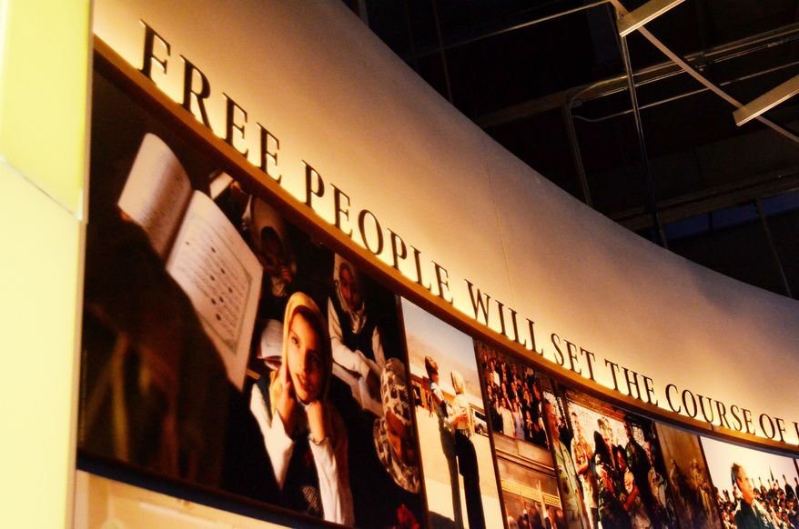 The museum uses everything from news clips to interactive screens to artifacts to tell the story of President Bush's eight years in office. The George W. Bush Presidential Center, which includes the library and museum along with 43rd president's policy institute, will be dedicated Thursday on the campus of Southern Methodist University in Dallas.