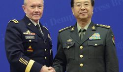 """During a news conference with Chinese Gen. Fang Fenghui, Joint Chiefs Chairman Gen. Martin Dempsey said """"We will build and recognize the historic alliances, and there will be points when that creates friction.""""`"""