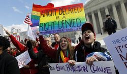 **FILE** Supporters of same-sex marriage hold flags and chant during a demonstration on March 27, 2013, in front of the Supreme Court in Washington. (Associated Press)