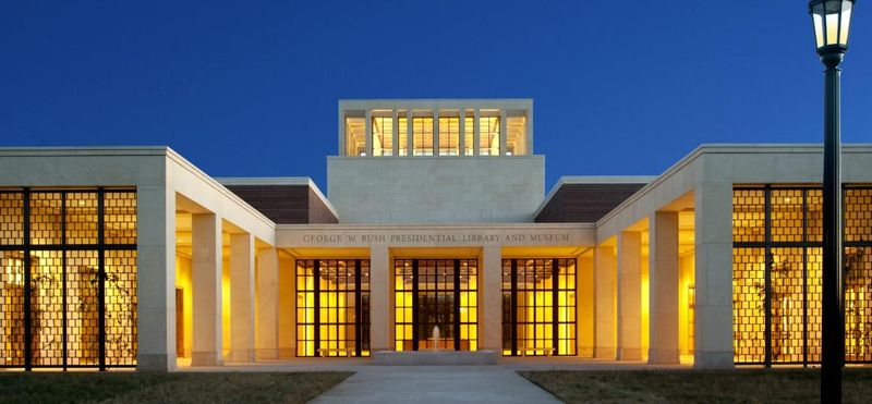 The George W. Bush Presidential Center in Dallas, showing the monumental main entrance of the 17-acre site.