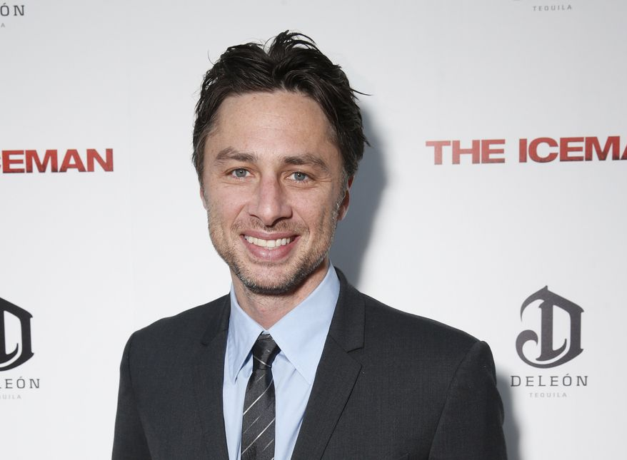 """Actor-director Zach Braff attends the DeLeon Tequila special screening of """"The Iceman"""" at the Arclight in Los Angeles on Monday, April 22, 2013. (AP Photo/Millennium, Todd Williamson)"""
