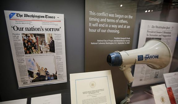 The bullhorn President George W. Bush used at ground zero in the wake of the Sept. 11, 2001 terrorist attacks is seen during a tour of the George W. Bush Presidential Center Wednesday, April 24, 2013, in Dallas. More than 8,000 people are expected to attend the invitation-only dedication of the center, Thursday, April 25, which will house the presidential library and museum along with the 43rd presidentís policy institute. It opens to the public on May 1. (AP Photo/David J. Phillip)