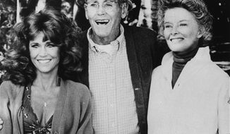 "Jane Fonda (left) co-stars with Henry Fonda, her father, and Katharine Hepburn in the 1981 film ""On Golden Pond."" (AP Photo)"