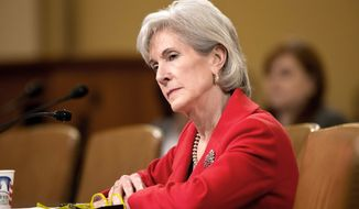 Health and Human Services (HHS) Secretary Kathleen Sebelius testifies on Capitol Hill in Washington on Friday, April 12, 2013, before the House Ways and Means Committee hearing on President Obama's budget proposal for fiscal 2014 and her department. (AP Photo/J. Scott Applewhite)