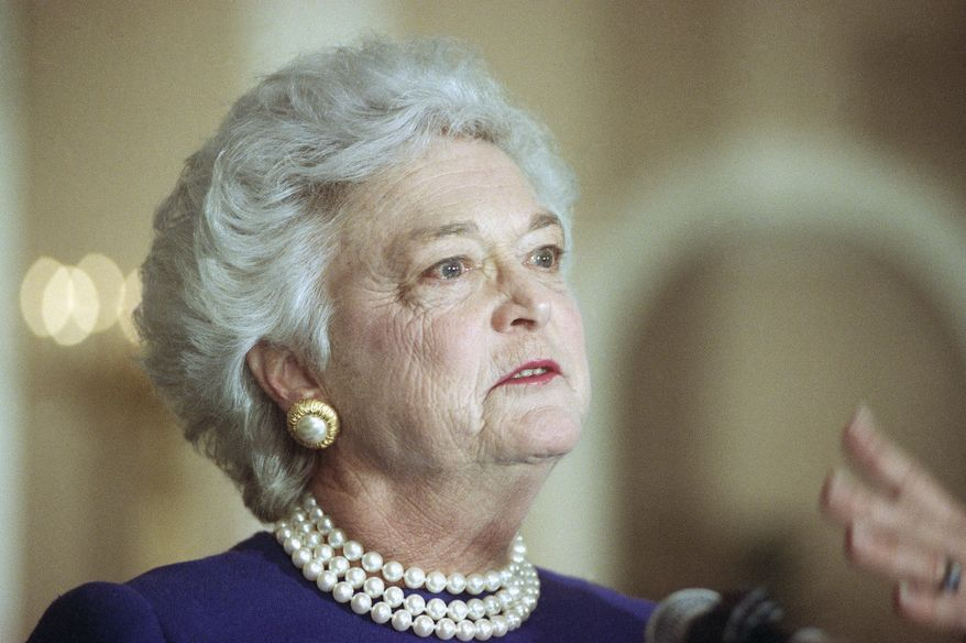 **FILE** Former first lady Barbara Bush (Associated Press)