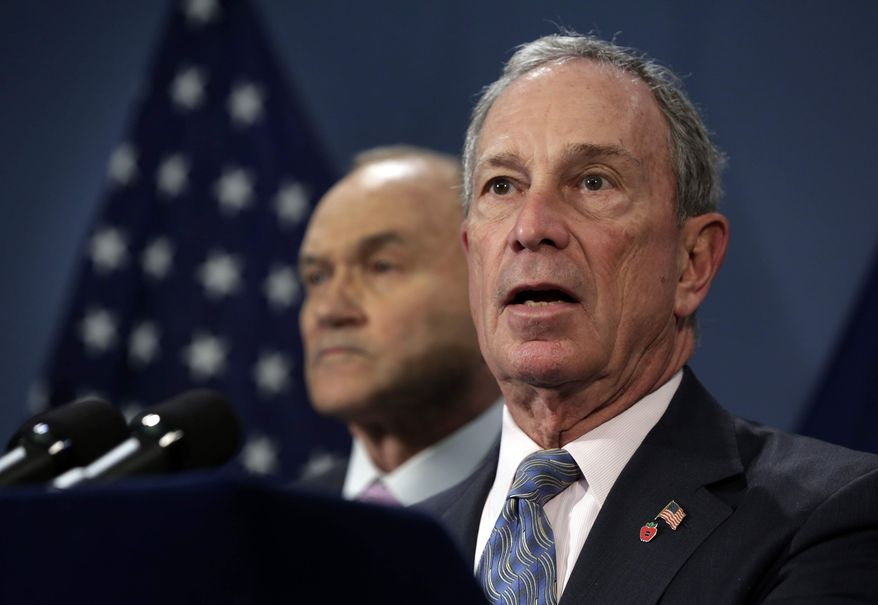 ** FILE ** New York Mayor Michael Bloomberg, right, accompanied by Police Commissioner Raymond Kelly, addresses a news conference in the Blue Room of New York's City Hall, Tuesday, April 16, 2013. (AP Photo/Richard Drew)