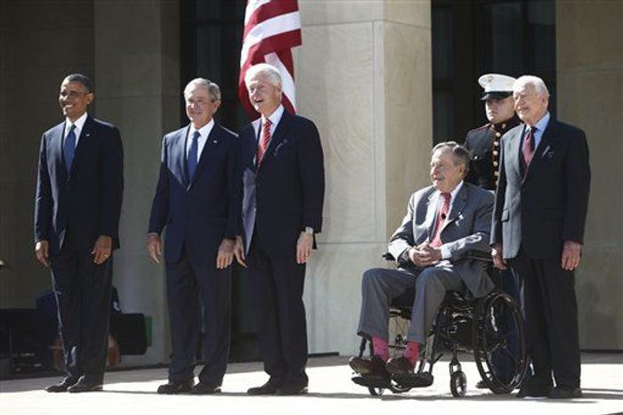 President Obama stands with former presidents George W. Bush, Bill Clinton, George H.W. Bush, and Jimmy Carter at the dedication of the George W. Bush presidential libr
