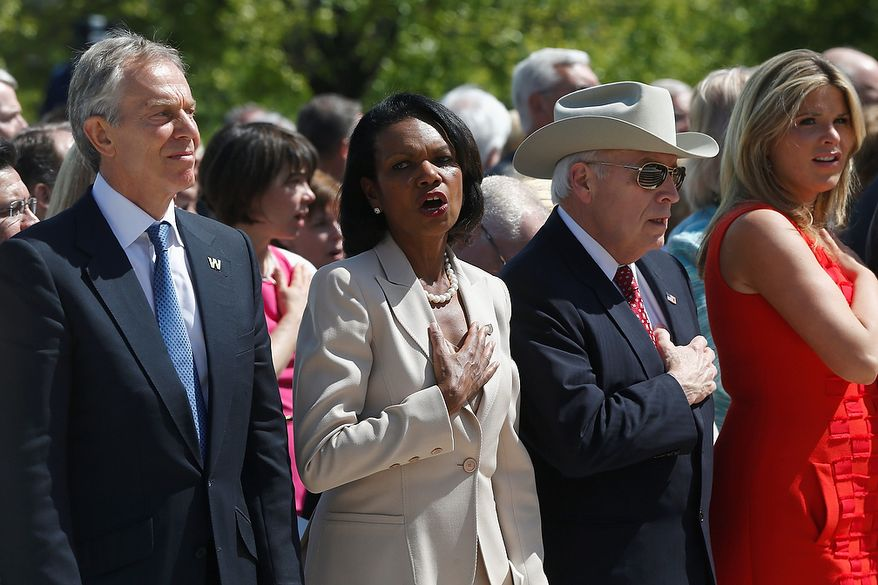 "From left, former British Prime Minister Tony Blair, former Secretary of State Condoleezza Rice, former Vice President Dick Cheney, and former President George W. Bush's daughter Jenna Bush Hager, participate in the singing of ""God Bless America"" at the dedication of the George W. Bush presidential library on the campus of Southern Methodist University in Dallas, Thursday, April 25, 2013. (AP Photo/Charles Dharapak)"