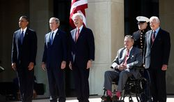 President Barack Obama stands with, from second from left, former Presidents George W. Bush, Bill Clinton, George H.W. Bush, and Jimmy Carter at the dedication of the George W. Bush presidential library on the campus of Southern Methodist University in Dallas, Thursday, April 25, 2013. (AP Photo/Charles Dharapak)