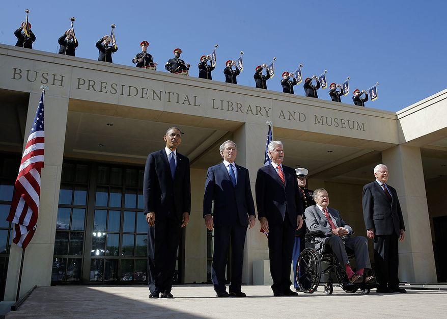 From left, President Barack Obama, former president George W. Bush, former president William J. Clinton former President George H.W. Bush and former president Jimmy Carter arrive for the dedication of the George W. Bush Presidential Center Thursday, April 25, 2013, in Dallas. (AP Photo/David J. Phillip)