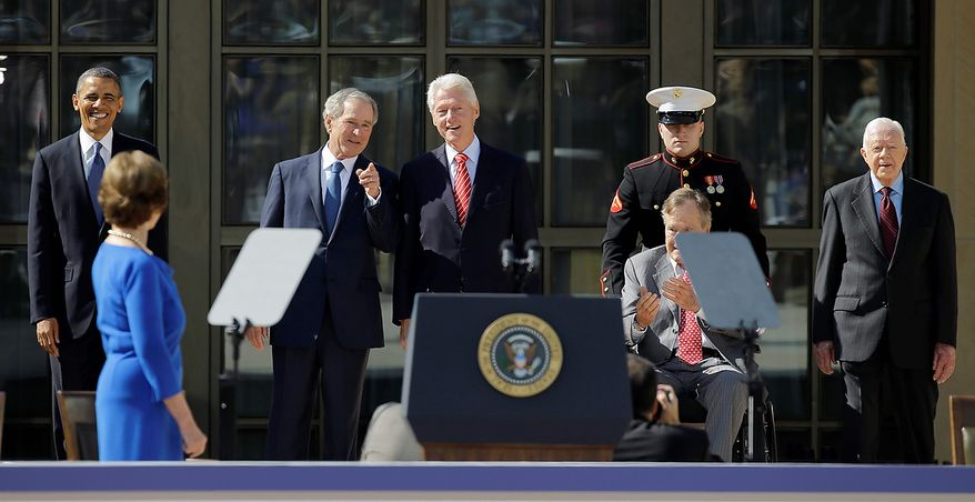 President Barack Obama, and former presidents, from second from left, George W. Bush, Bill Clinton, George H.W. Bush and Jimmy Carter arrive for the dedication of the George W. Bush Presidential Center ,Thursday, April 25, 2013, in Dallas. (AP Photo/David J. Phillip)