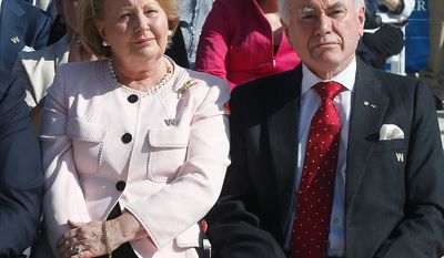 Former Australian Prime Minister John Howard and wife Janette attend the dedication of the George W. Bush presidential library on the campus of Southern Methodist University in Dallas, Thursday, April 25, 2013. (AP Photo/Charles Dharapak)