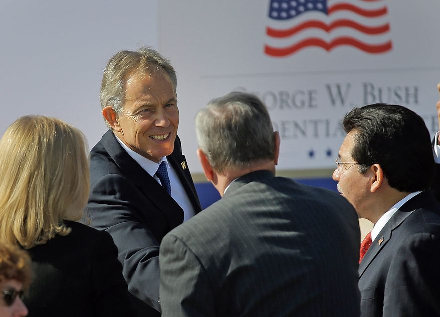 Former British Prime Minister Tony Blair arrives for the dedication of the George W. Bush Presidential Center ,Thursday, April 25, 2013, in Dallas. (AP Photo/David J. Phillip)