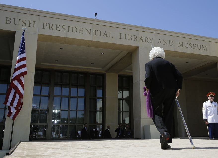 Former first lady Barbara Bush walks to the library and museum following the dedication of the George W. Bush Presidential Center Thursday, April 25, 2013, in Dallas. (AP Photo/David J. Phillip)