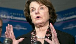 ** FILE ** Sen. Dianne Feinstein, California Democrat, who chairs the Senate Intelligence Committee, speaks with reporters following a closed-door briefing by intelligence agencies on Capitol Hill in Washington on Tuesday, April 23, 2013. (Associated Press)