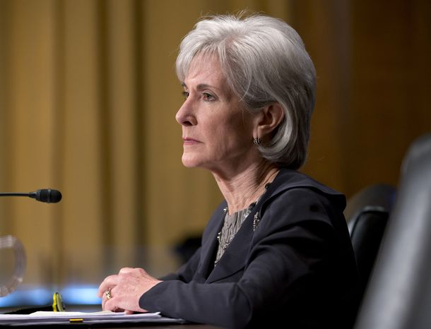 **FILE** Health and Human Services Secretary Kathleen Sebelius testifies on Capitol Hill in Washington on April 17, 2013, before the Senate Finance Committee hearing on President Barack Obama's budget proposal for fiscal year 2014. (Associated Press)