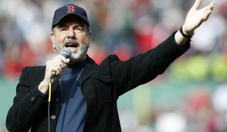 "Neil Diamond sings ""Sweet Caroline"" in the eighth inning of a baseball game between the Boston Red Sox and the Kansas City Royals at Fenway Park in Boston on Saturday, April 20, 2013. (AP Photo/Michael Dwyer)"