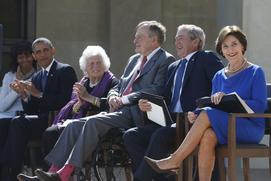 President Barack Obama, first lady Michelle Obama, former presidents George W. Bush, George H.W. Bush, former first ladies Barbara Bush and Laura Bush at the dedication of the George W. Bush presidential library on the campus of Southern Methodist University in Dallas, Thursday, April 25, 2013. (AP Photo/Charles Dharapak)