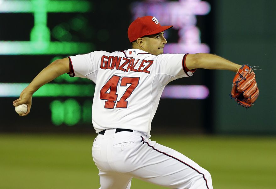 Gio Gonzalez tossed eight innings and allowed just one hit as the Nationals beat the Cincinnati Reds on Thursday night. (Associated Press photo)