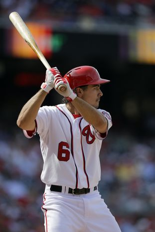 Washington Nationals third baseman Anthony Rendon (6) at bat during a baseball game against the St. Louis Cardinals at Nationals Park Wednesday, April 24, 2013, in Washington. The Cardinals won 4-2, and swept the three game series.(AP Photo/Alex Brandon)