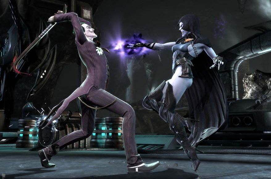 Raven attacks the Joker in the video game Injustice: Gods Among Us.