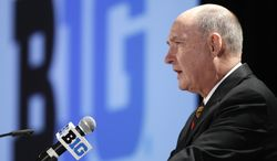 **FILE** Big Ten Commissioner Jim Delany speaks at the Big Ten football media day, Thursday, July 26, 2012, in Chicago. (AP Photo/M. Spencer Green)